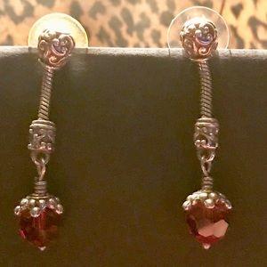 Jewelry - RUBY RED BEAD SILVER DROP EARRINGS